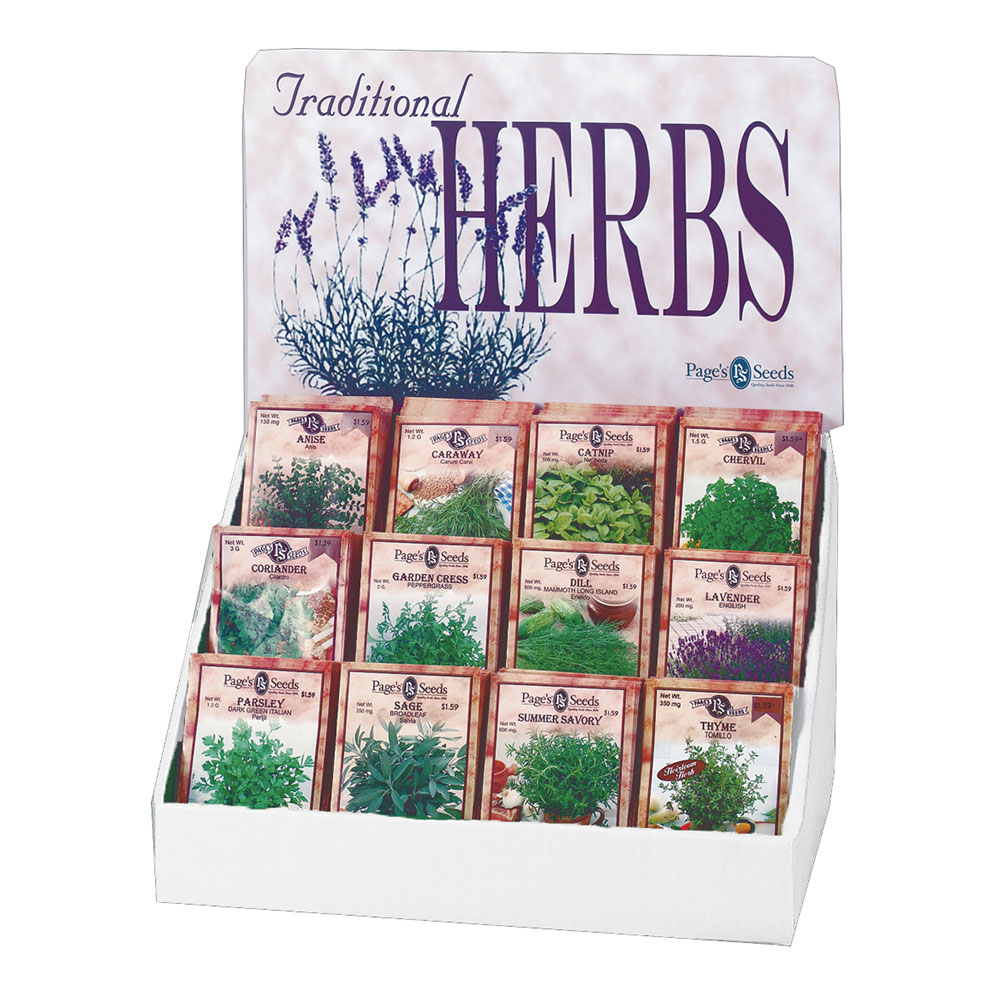 Page's Traditional Herb Collection Garden Seed Counter Display - Caudill Seed Company